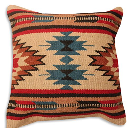 Hand Woven WOOL Throw Pillow Cover Southwest Mexican Tribal