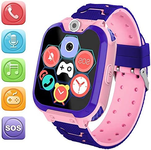 HuaWise Kids Smartwatch[SD Card Included], Waterproof Smartwatch for Kids with Quick Dial, SOS Call, Camera and Music Player, Birthday Gift Game Watch for Boys and Girls (Special Pink)