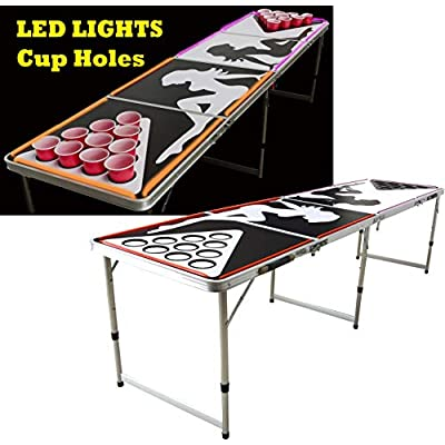 LED Lights Beer Pong Table with Holes for Cups 8' Aluminum Portable Adjustable Folding Indoor Outdoor Tailgate Drinking Party Game Squad Show Girl 01: Sports & Outdoors