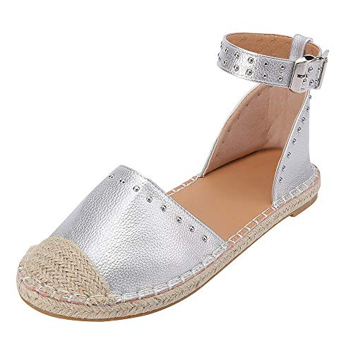 JJLIKER Women Fashion Studs Flat Sandals Closed Toe Ankle Buckle Strap Shoes Classic Comfort Espadrille Loafers Silver