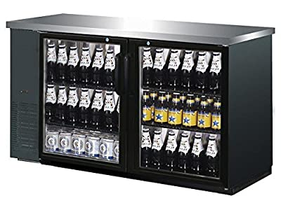"""UBB-24-60G 60"""" Narrow Glass Door Back Bar Cooler Stainless Steel Top and LED Lighting"""