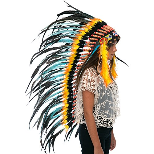 Long Feather Headdress- Native American Indian Inspired- Handmade by Artisan Halloween Costume for Men Women with Real Feathers - Turquoise Fire Rooster