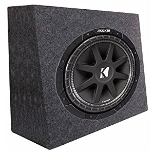"Kicker 43C124 12"" 300W 4-Ohm Car Audio Subwoofer Sub + Slim Shallow Truck Box"