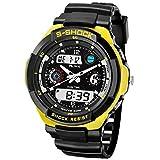 USWAT Relogio Masculino 50m Waterproof Outdoor Sports Watches Men Quartz Hours Digital Watch Military LED Wrist Watch for Men Yellow