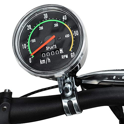 funchic Bicycle Speedometer Odometer, Classical Bicycle Computer Bike Mechanical Mountain Cycling Round Meter Gauges Stopwatch Waterproof Riding Equipment for Biking Cycling Accessories ()