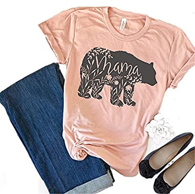 Women's Floral Mama Bear Print Crew Neck Short Sleeve T Shirts for Mom Mother's Gift
