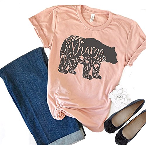 yangelo Floral Mama Bear T Shirt Printer Mother's Day Gifts For Mom Short Sleeve Cotton Shirts (M, Pink) (Mom T-shirt Tee)