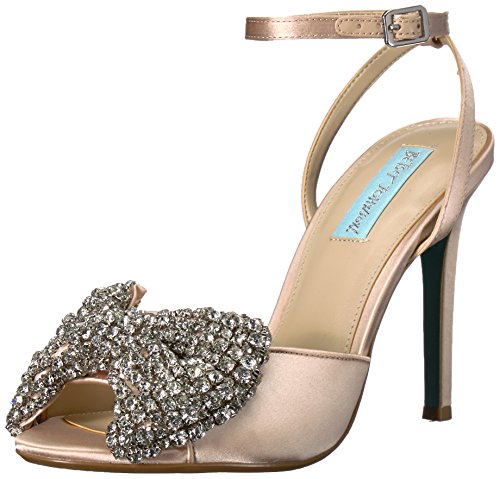 Blue by Betsey Johnson Women's SB-Heidi Pump, Champagne Satin, 8.5 M US Betsey Johnson Satin Heels