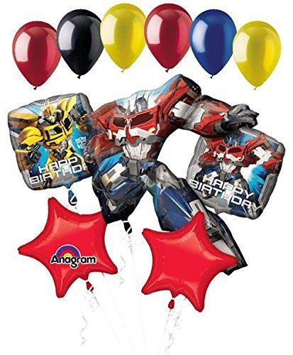 11 pc Transformers Optimus Prime Happy Birthday Balloon Bouquet Super Bumblebee]()