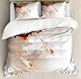 Lunarable Koi Fish Duvet Cover Set Queen Size, Sakura Branch and Leaves Sacred Animals in Small Body of Water Oriental Style, Decorative 3 Piece Bedding Set with 2 Pillow Shams, Peach Black Red