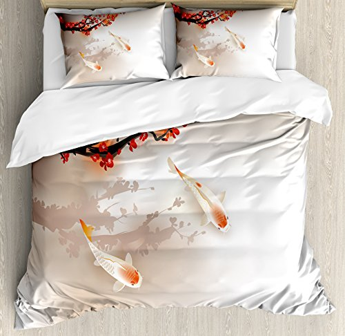 Lunarable Koi Fish Duvet Cover Set King Size by, Sakura Branch and Leaves Sacred Animals in Small Body of Water Oriental Style, Decorative 3 Piece Bedding Set with 2 Pillow Shams, Peach Black Red by Lunarable