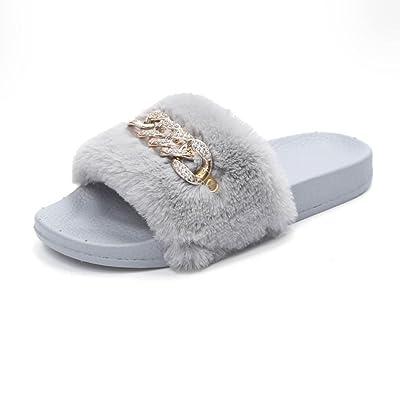 Lisin New Womens Ladies Fashion Slip On Sliders Fluffy Faux Fur Flat Slipper Flip Flop Sandal
