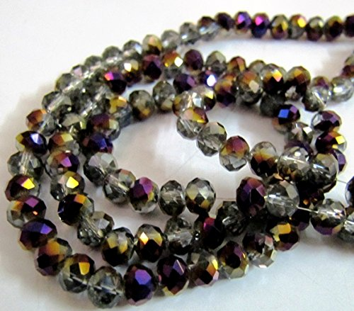 Mystic Coated Smoky Quartz Rondelle Faceted Beads / 6mm Size Purple Coated Hydro Quartz Beads / approx. 100 Beads per Strand- Shaded (Smoky Quartz Rondelle Beads)