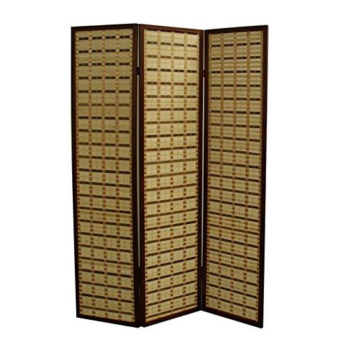 (ORE International NYBB-042-3 2-Tone 3-Panel Room Divider, 70.25-Inch, Walnut Rayon)