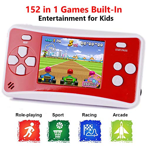 X-JJFUN Portable Handheld Games Console for Kids, QS-1 Classic Game Consoles Built in 152 Games 2.5 Inch Color LCD Retro Arcade Video Gaming System, Birthday for Children- Red