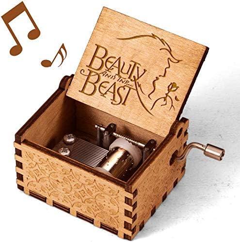 Zongteng Cajas de música de madera para llevar, manivela antigua ...
