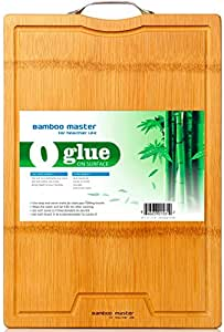 """Healthiest Large Strong Thick Bamboo Cutting Board: 18""""X12""""X0.8"""" with Drip Groove by BAMBOO MASTER"""
