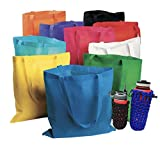 50 Bulk Large Tote Bag Mega Pack - 15' x 16' Reusable Shopping Bags (Multicolor)