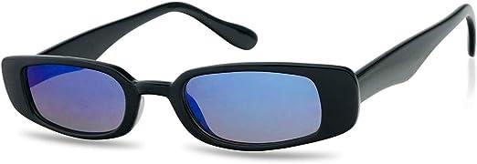 Unisex Men Women Retro Small Face Black Rectangular Frame Mirrored Sunglasses