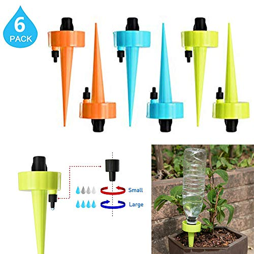 Plant Waterer Self Watering Spikes System Automatic Vacation Drip Irrigation Watering Devices with Slow Release Control Valve Switch and Bottle Mouth Universal for Plants Indoor & Outdoor (12 PCS - System Dripper Pot