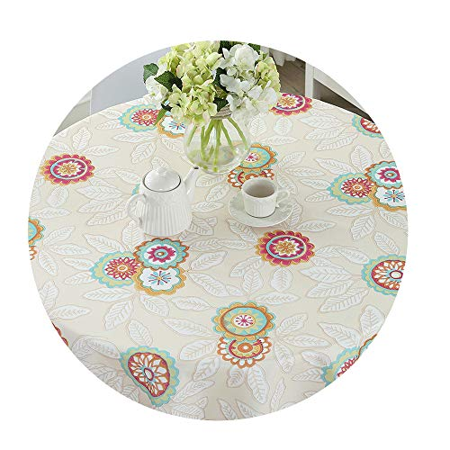 COOCOl Pastoral PVC Round Table Cloth Waterproof Oilproof Floral Printed Lace Edge Plastic Table -