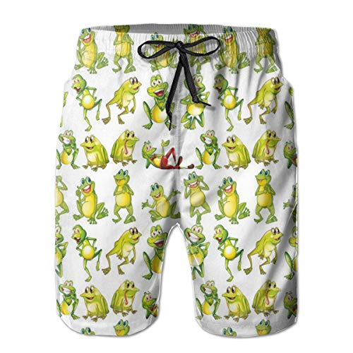 Men Swim Trunks Beach Shorts,Frogs in Different Positions Funny Happy Cute Expressions Faces Toads Cartoon L (Texas Toads Cartoon)