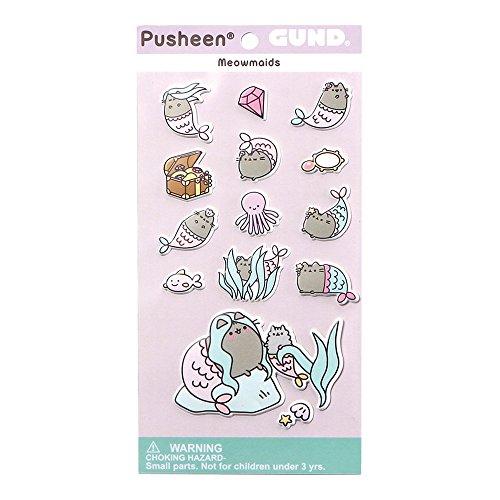 GUND Pusheen Meowmaids Mermaid Sticker Sheet, 14-Piece, Multicolor