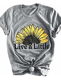 NANYUAYA Women Live A Little Sunflower Funny Graphic T-Shirt Crew Neck Tops Blouse