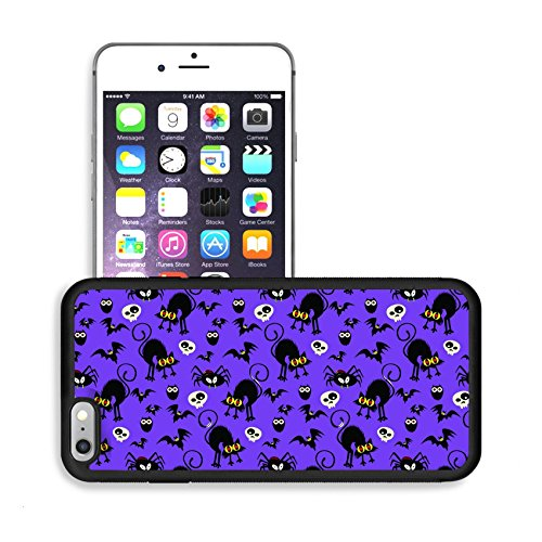 Luxlady Premium Apple iPhone 6 Plus iPhone 6S Plus Aluminum Backplate Bumper Snap Case IMAGE ID: 32382820 Halloween Seamless Pattern (Halloween Cat Iphone Wallpaper)
