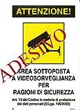 CARTELLO TARGA ADESIVO AREA VIDEOSORVEGLIATA CM 18 X 12 TELECAMERA SORVEGLIANZA