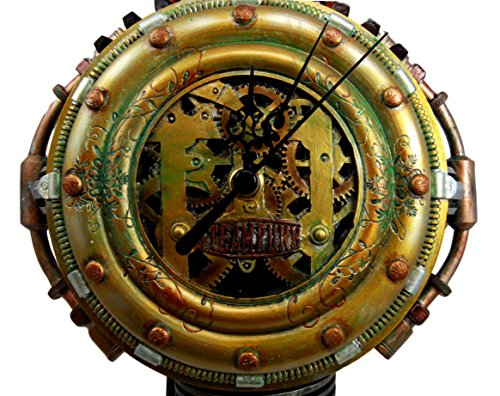 """Ebros Gift Steampunk Pressure Chamber with Painted Clockwork and Gearwork Decorative Wall Clock Figurine 11"""" H Time Clocks Home Decor Accessory Victorian Science Fiction Sci Fi Halloween Time Prop 4"""