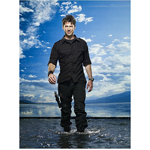 Joe Flanigan 8x10 Inch Photo Stargate Atlantis 6 Bullets The Other Sister Wearing All Black Standing in Ankle Deep Water Pose 3 kn