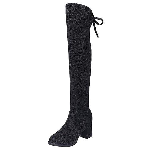 Botas de tacón Alto de Mujer,BBestseller Las Mujeres Cu?a del Rhinestone del Medio Tubo de Cuero Sport Boots: Amazon.es: Zapatos y complementos