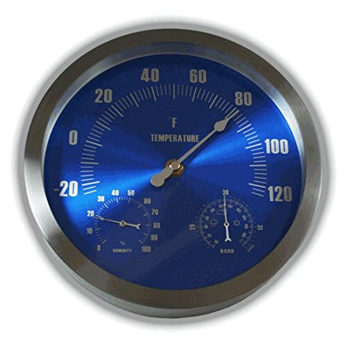 Ambient Weather WS-208TBH 9'' Brushed Aluminum Traditional Thermometer with Barometer and Humidity, Metallic Radiant Blue