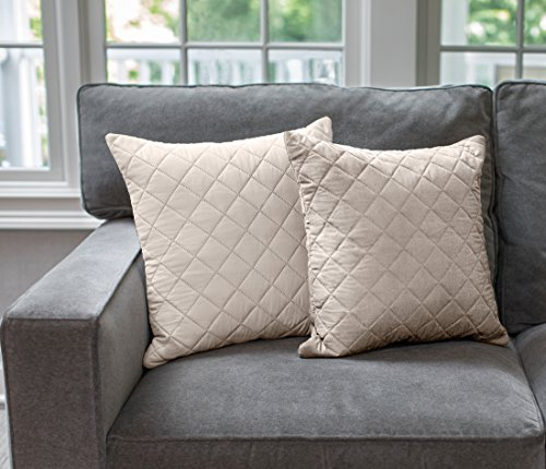 The Original SOFA SHIELD Reversible Set of 2 Throw Pillow Cases to Match Furniture Protector, Reversible (Throw Pillow: Lt Taupe/Lt Taupe)
