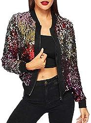 Sequin Long Sleeve Lightweight Zipper Jacket