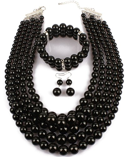 Shineland Elegant Multilayers Simulated Pearl Strand Cluster Collar Bib Choker Costume Jewelry Sets (Black)