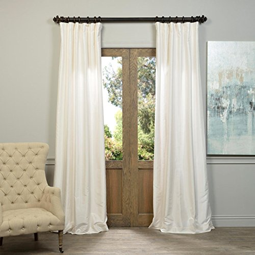 - Half Price Drapes PDCH-KBS2-108 Vintage Textured Faux Dupioni Silk Curtain, 50 x 108, Off White