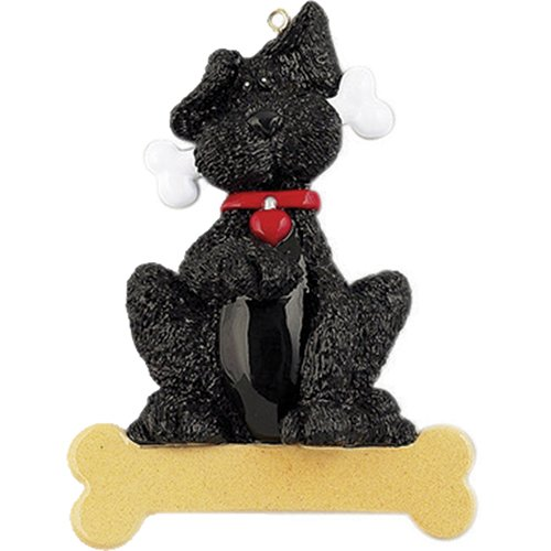(Personalized Black Dog Bone Christmas Tree Ornament 2019 - Big Fluffy Doggy Heart Collar Gives Paw Aww Pet Faithful Fur-Ever Breed Neutral Poodle Terrier Newfoundland - Free)