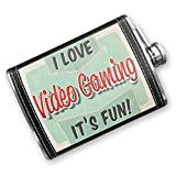 8oz Flask Stitched I Love Video Gaming, Vintage design Stainless Steel - Neonblond