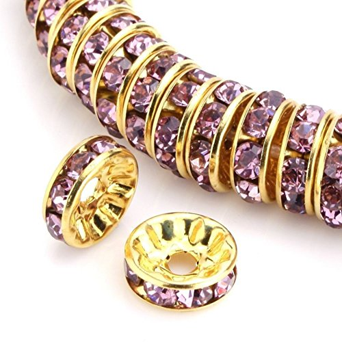 100pcs 6mm 14k Gold Plated Copper Brass Rondelle Spacer Round Loose Beads Light Amethyst Austrian Crystal Rhinestone for Jewelry Crafting Making CF4-611
