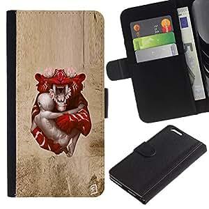 // PHONE CASE GIFT // Moda Estuche Funda de Cuero Billetera Tarjeta de crédito dinero bolsa Cubierta de proteccion Caso Apple Iphone 6 PLUS 5.5 / Baby Tiger /
