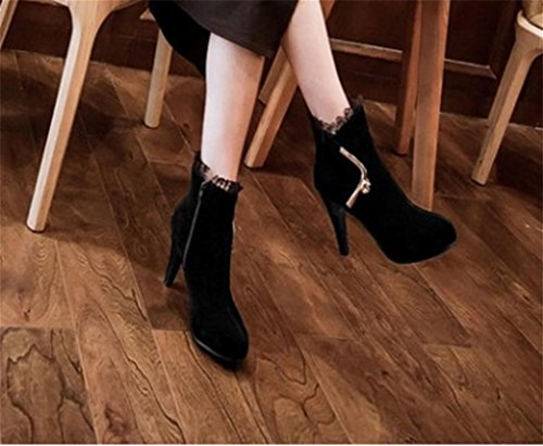 Martin Fashion Fashion Platform MNII shoes Western High Short Up Lace Sexy Heel Boots Women Heel Lace Ankle Black HwvqZS8