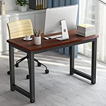 "Modern Simple Computer Desk , LITTLE TREE 47"" Office Desk Study Writing Desk / Table Workstation for Home Office, Metal Frame (Teak + Black Leg)"