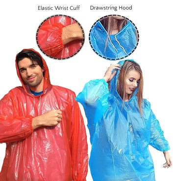 Disposable Rain Ponchos By Perfect Poncho: Pack Of 6 Waterproof Raincoats With Long Sleeves, Elastic Cuffs &Drawstring Hood Extra-Thick Emergency Rainwear For Men &Women One Size Fits All