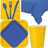 Disposable Party Supplies for 28 Guests - Yellow and Royal Blue - Square Dinner Plates, Square Dessert Plates, Cups, Lunch Napkins, Cutlery, and Tablecloths: Premium Quality Tableware Set