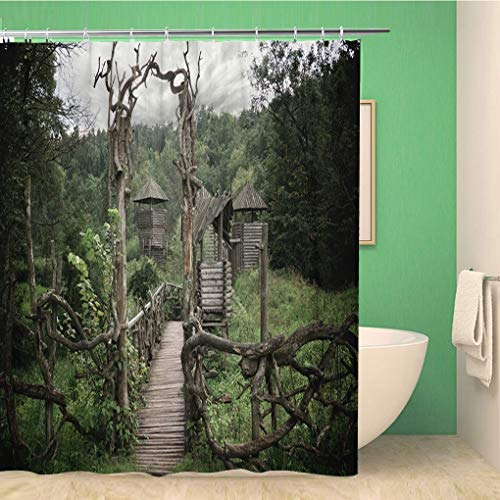 Awowee Bathroom Shower Curtain Blue Old Medieval Wooden Fortification Green Castle Pagan Building Polyester Fabric 66x72 inches Waterproof Bath Curtain Set with Hooks ()