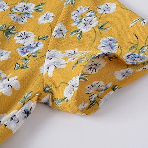 Robes Mi-longues En Mousseline De Soie Imprimé Floral Femmes Chicanary Jaune