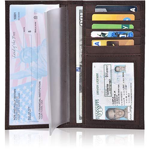 Leather Checkbook Cover Holder for Women and men - Standard Register Duplicate Checks RFID Card Slim Mens Wallet (Brown Crazy Horse)