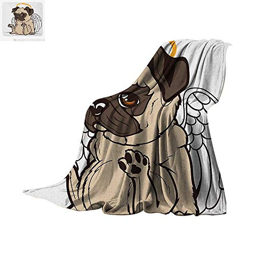 Gold Bronco Head - Pug Throw Blanket Pug Puppy Angel with a Hare on Its Head and Beautiful Angel Wings Heaven Religious Print Artwork Image 60